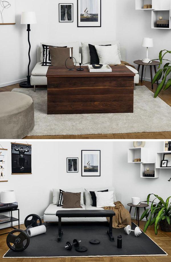 Hide a gym inside the living room furniture