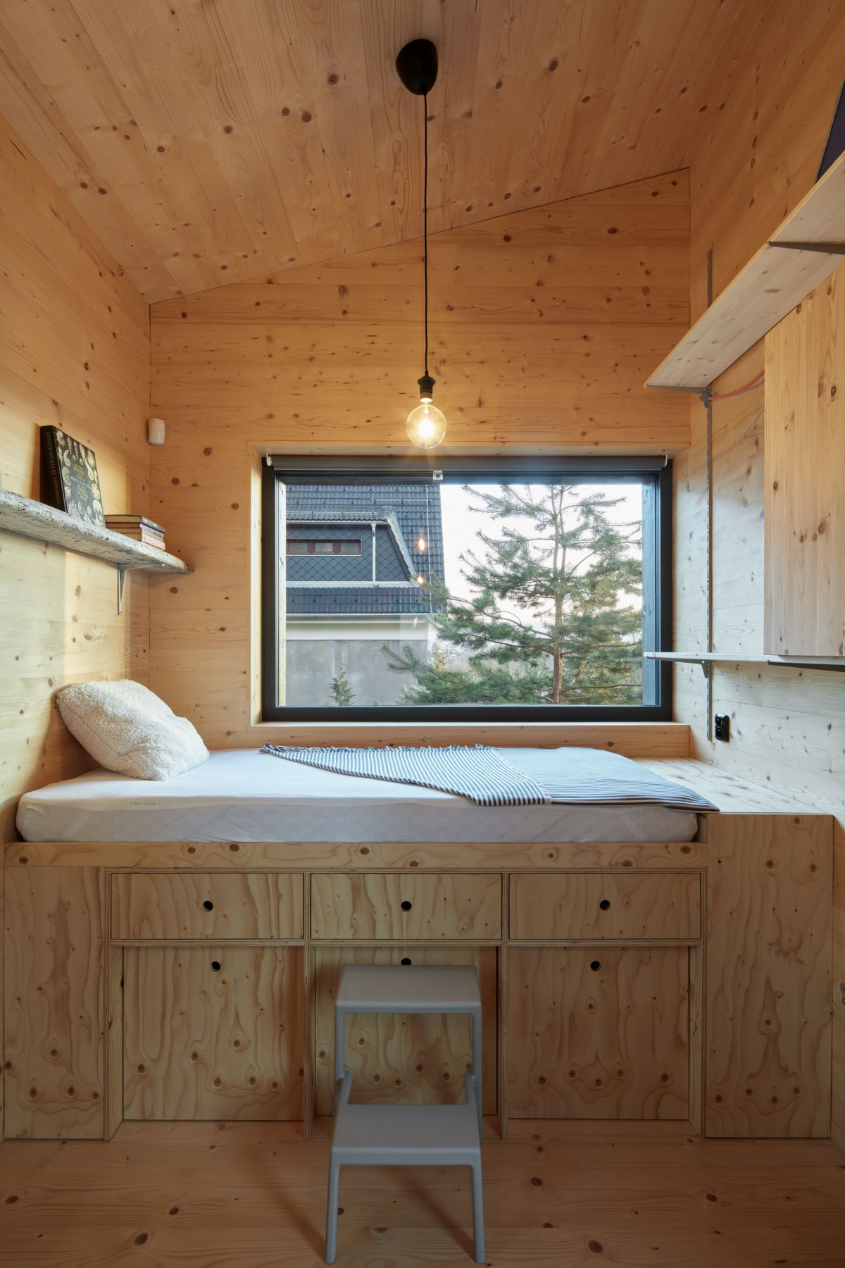 The bedrooms feature clever storage solutions which make up for the small footprint