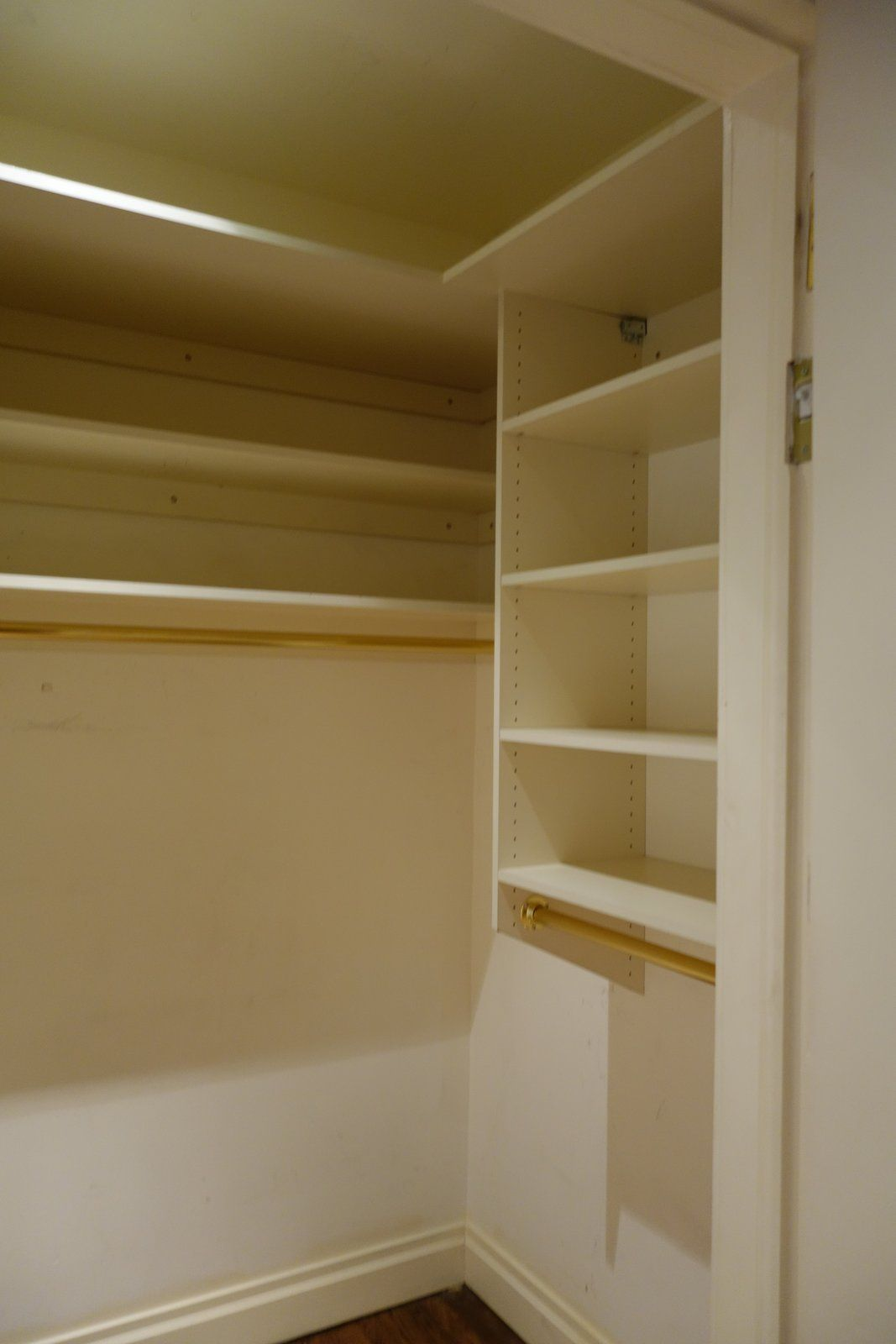 Other sections of the apartment have also been repurposed, like this closet space for example