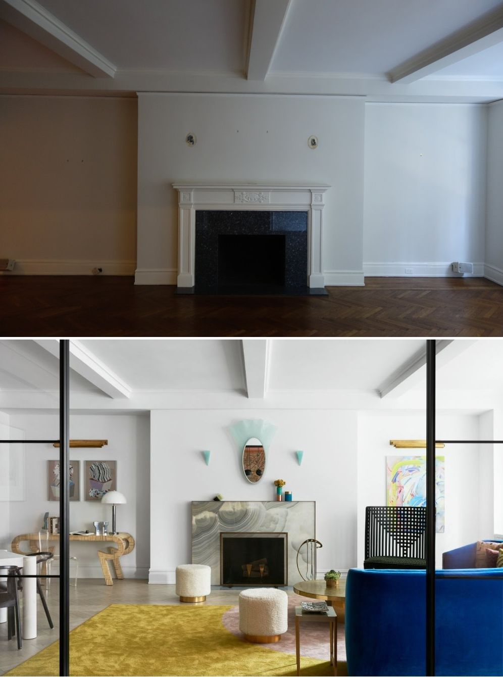 The living room features a fireplace which has been redesigned using modern materials and finishes