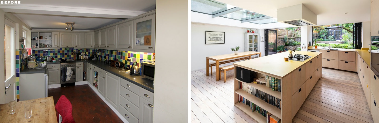 This is a comparison of the before and after kitchen designs, with an emphasis on spaciousness
