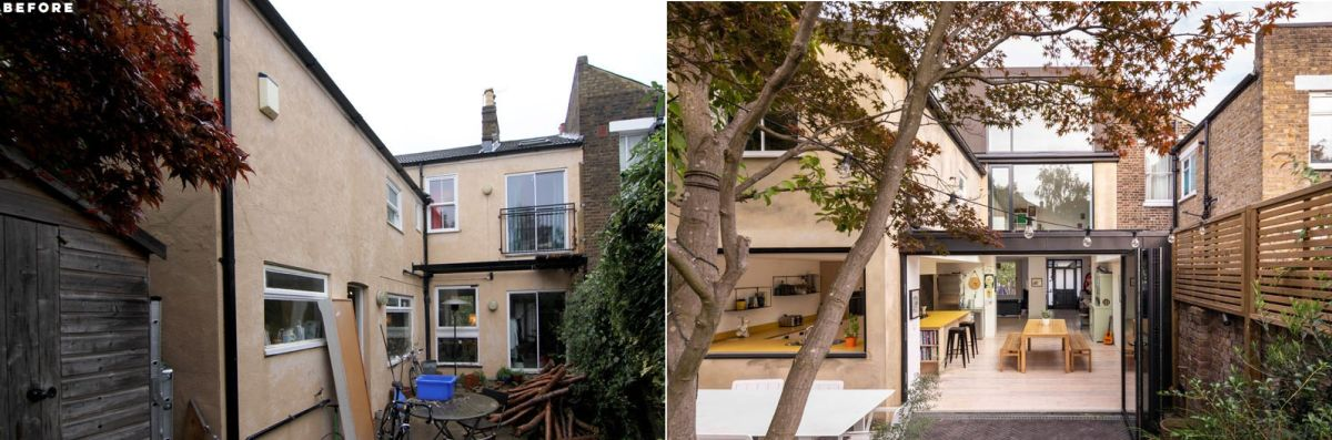 The new house extension takes advantage of the previously empty space and adds a series of extra functions