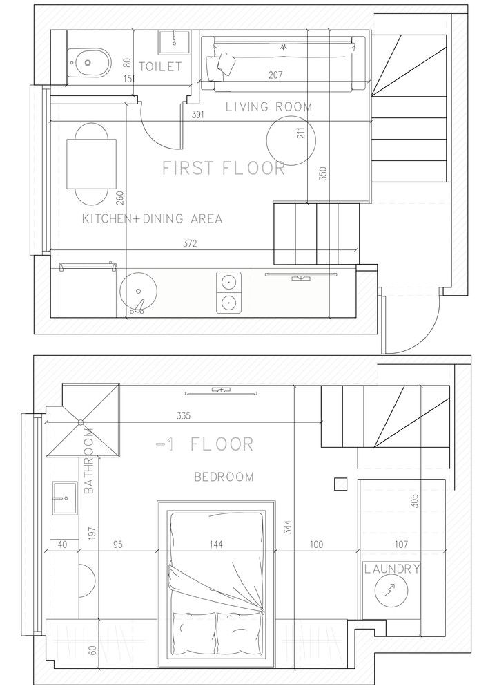 This is the plan which details how the two small floors are organized in the new design