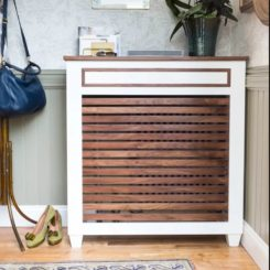 Small and narrow entryway table to cover the radiator