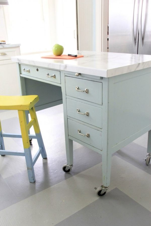 Turning an old desk into a kitchen island
