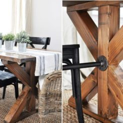 X brace with pipes -farmhouse table