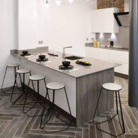 Chevron porcelain kitchen floor