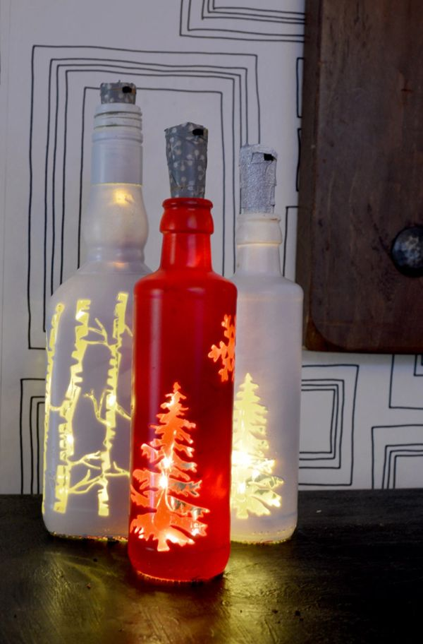 Christmas lights from empty wine bottles