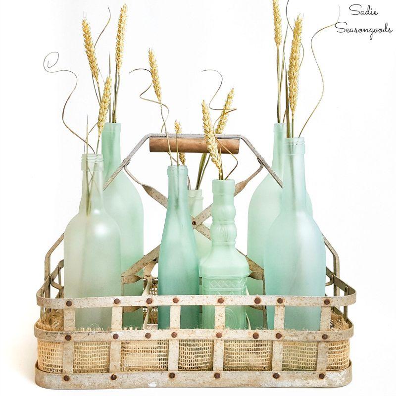 Coastal centerpiece with sea glass vases