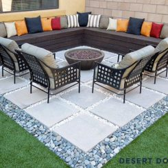 Concrete geometric slabs patio floor