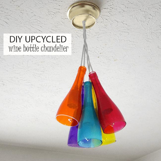 Colorful wine bottle chandelier