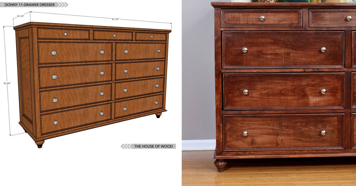 Solid wood dresser with a classic design