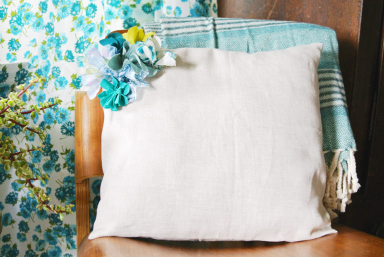 Embellished Fabric Flower Pillows to decorate a room