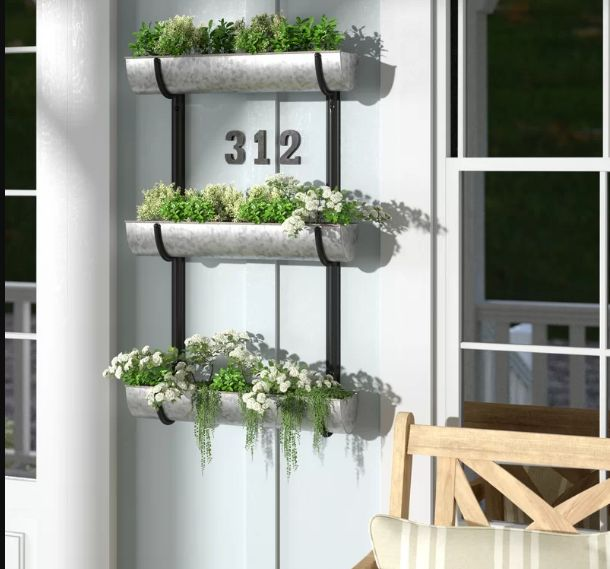 Farmhouse Wall-Mounting Triple Tier Metal Vertical Garden - Home Decorating Trends - Homedit