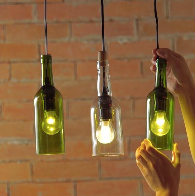 Hanging wine bottle pendant lamps