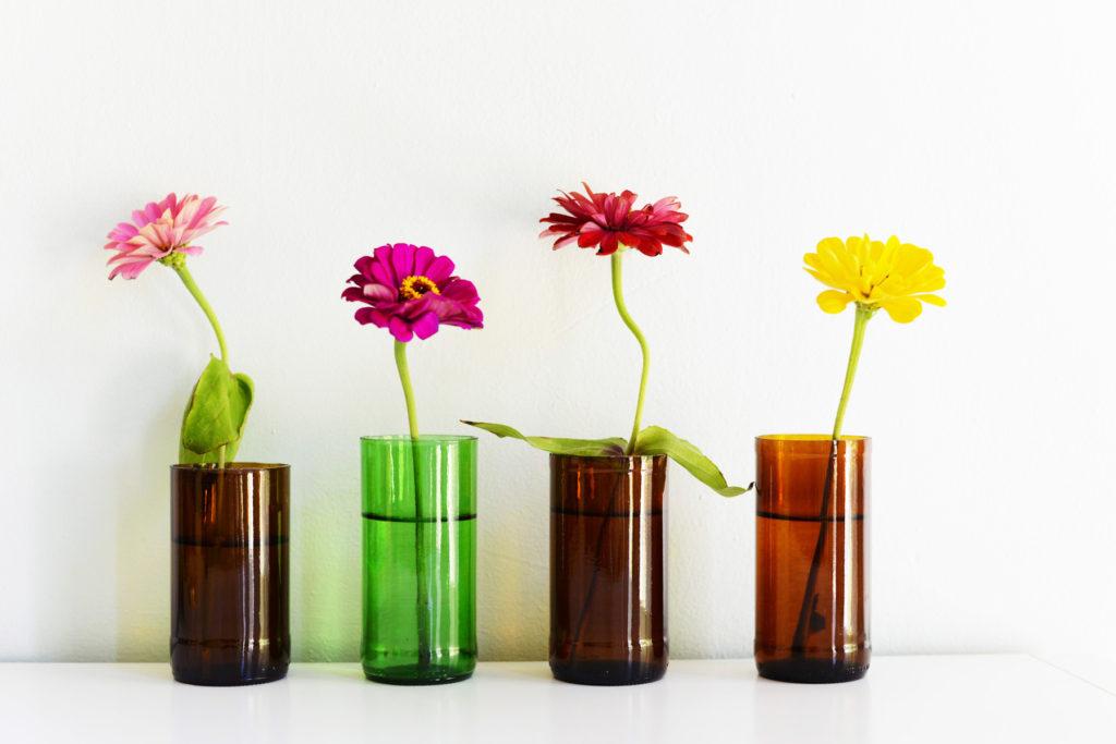 Cut glass bottles turned into vases