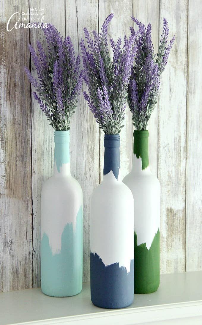 Multicolored wine bottle vases