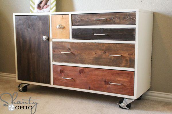 A mismatched design for a dresser on wheels