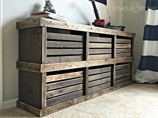 Rustic dresser with open cubbies and crate storage