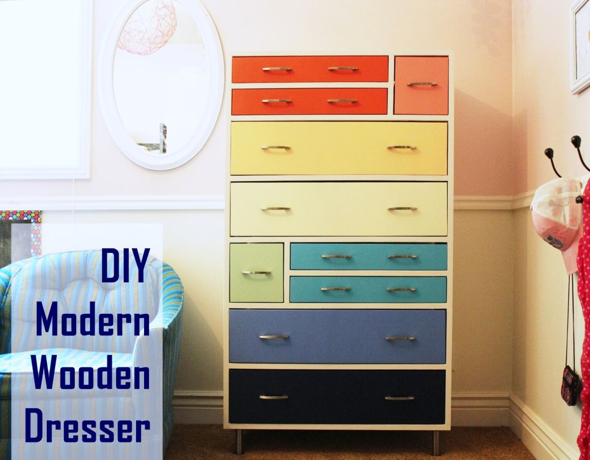 Colorful dresser with different types of drawers