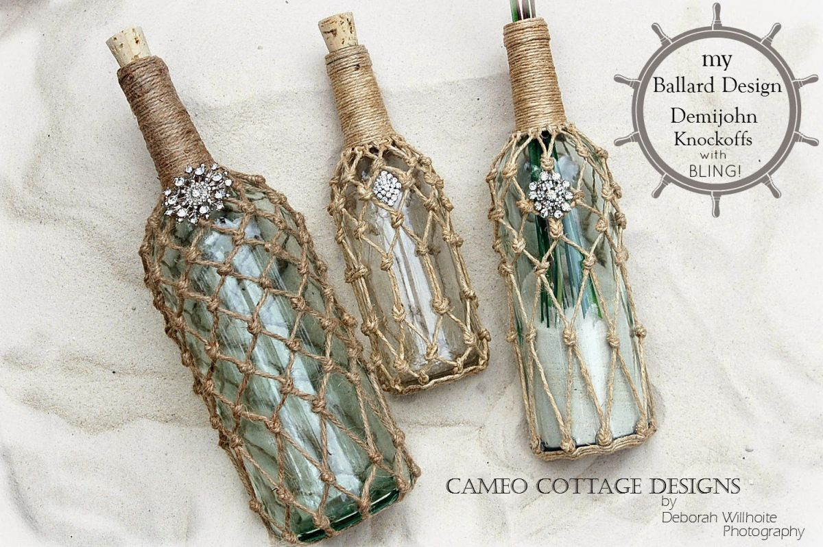Rustic wine bottle decorations using rope