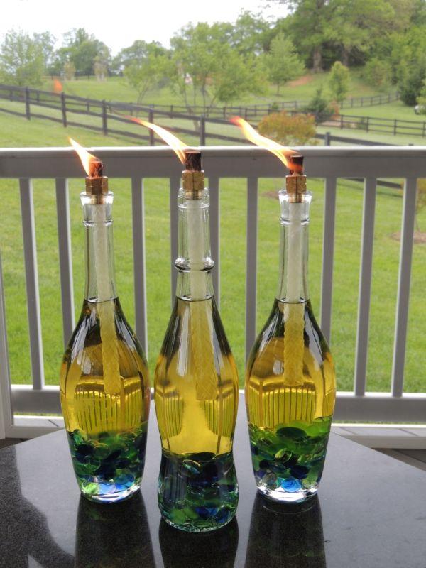 Special wine bottle tiki torches