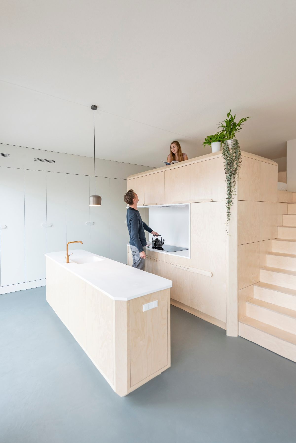 Even though the sleeping area is practically on top of the kitchen, it has a lot of privacy