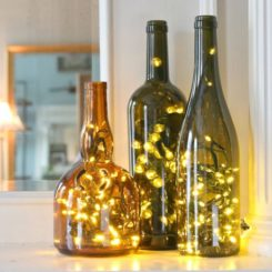 Wine bottle and string lights