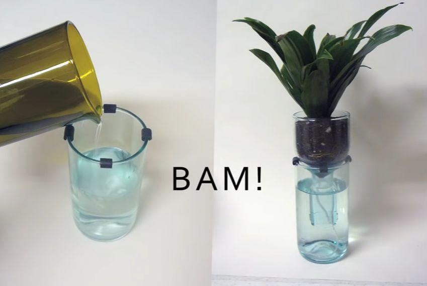 Wine bottler self-watering planters