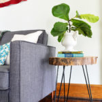 Wood Slab Side Table With Hairpin Legs