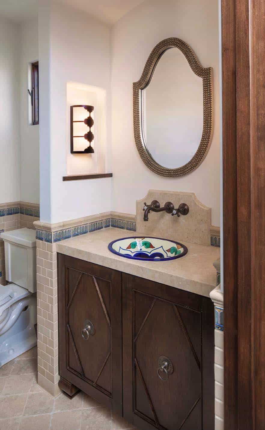 There are small bursts of color in every section of the house, including the bathrooms which have beautiful washbasins
