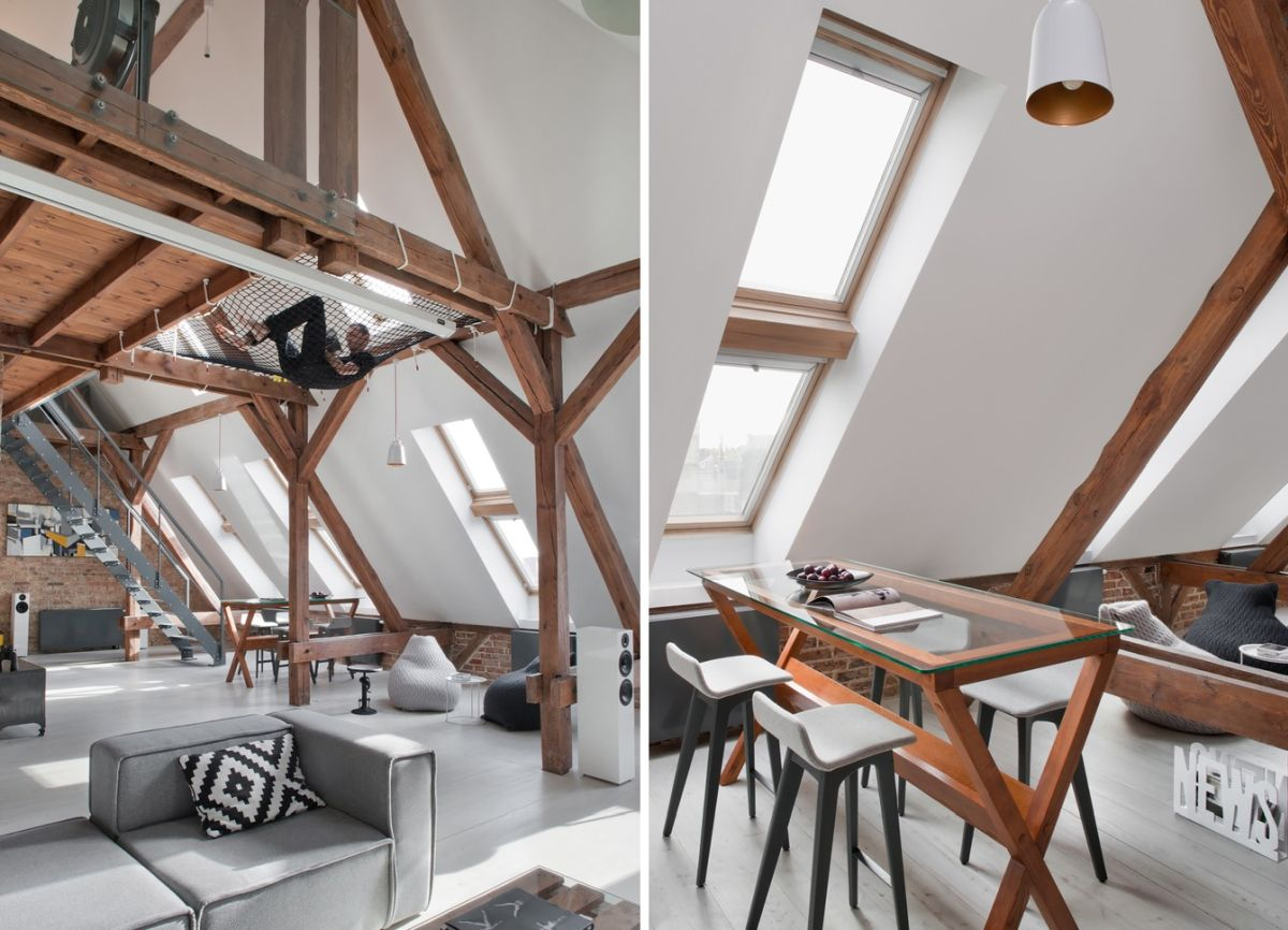The slanted walls create a cozy ambiance throughout the apartment and don't really make it seem smaller