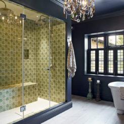 Bathroom with black frames windows