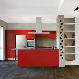 Casa Appia Antica by CAFElab Red Kitchen