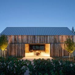 Field Architecture gabled house overlooking California vineyard design