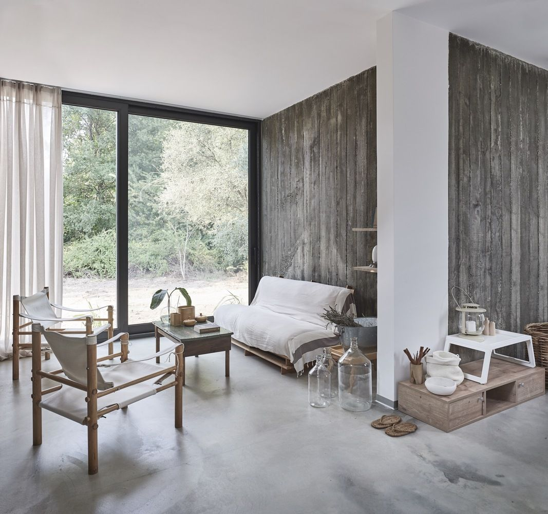The color palette featured throughout the interior is limited to warm neutrals