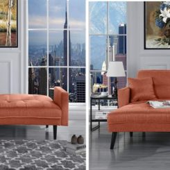 Orange futon recliner sleeper