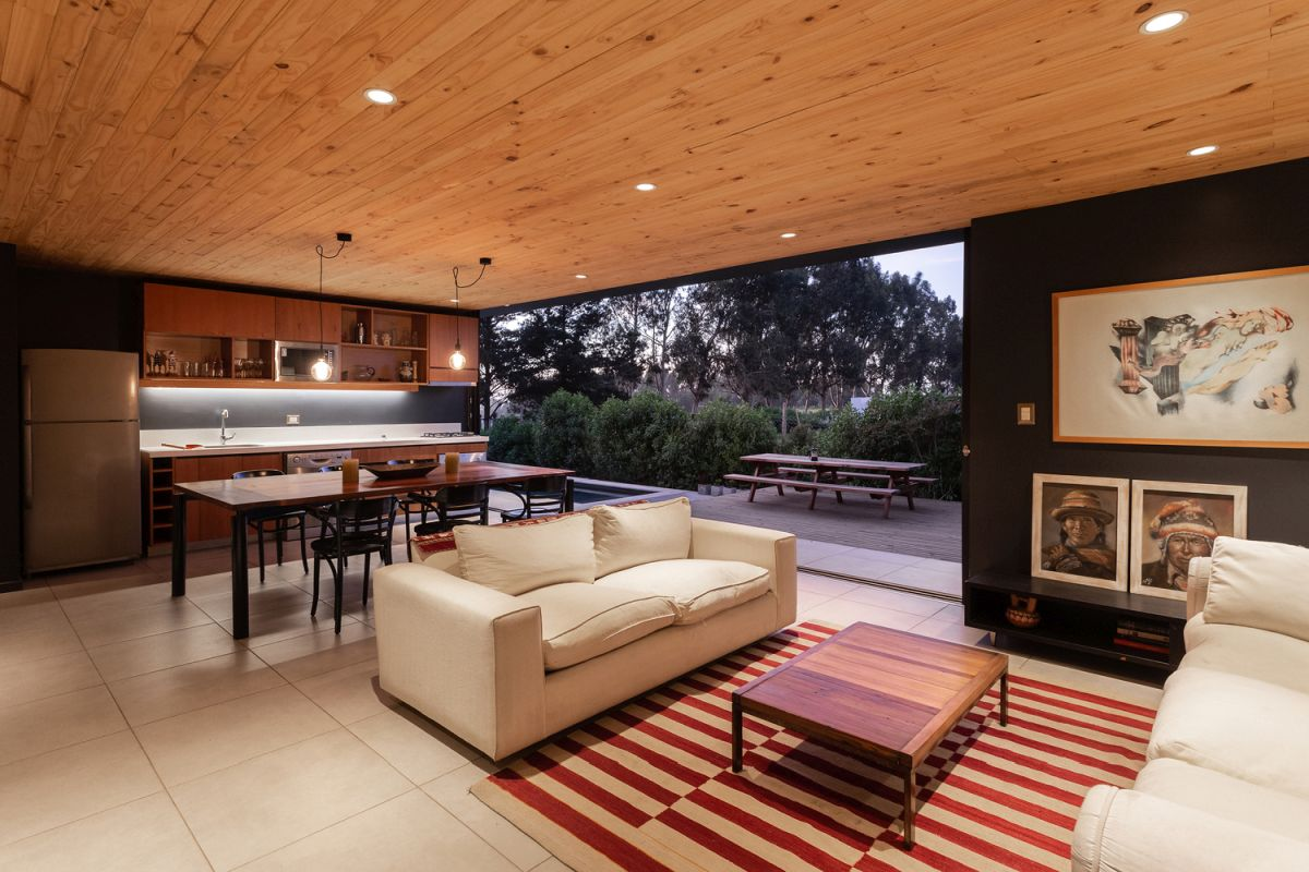 The interior living area is a combination between the kitchen, dining room and the usual sitting area