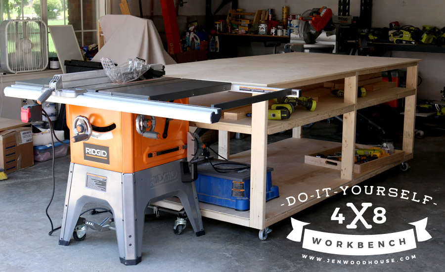 Extra wide workbench with plenty of storage