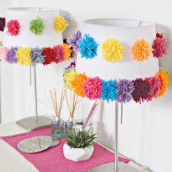 Yarn pom pom lampshade