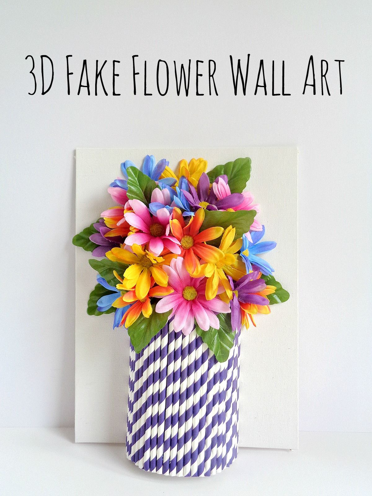 3D flower wall art made with paper straws