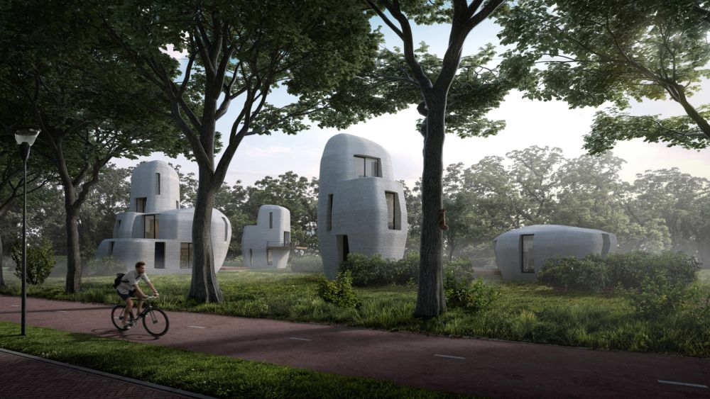 3D printing a collection of concrete houses