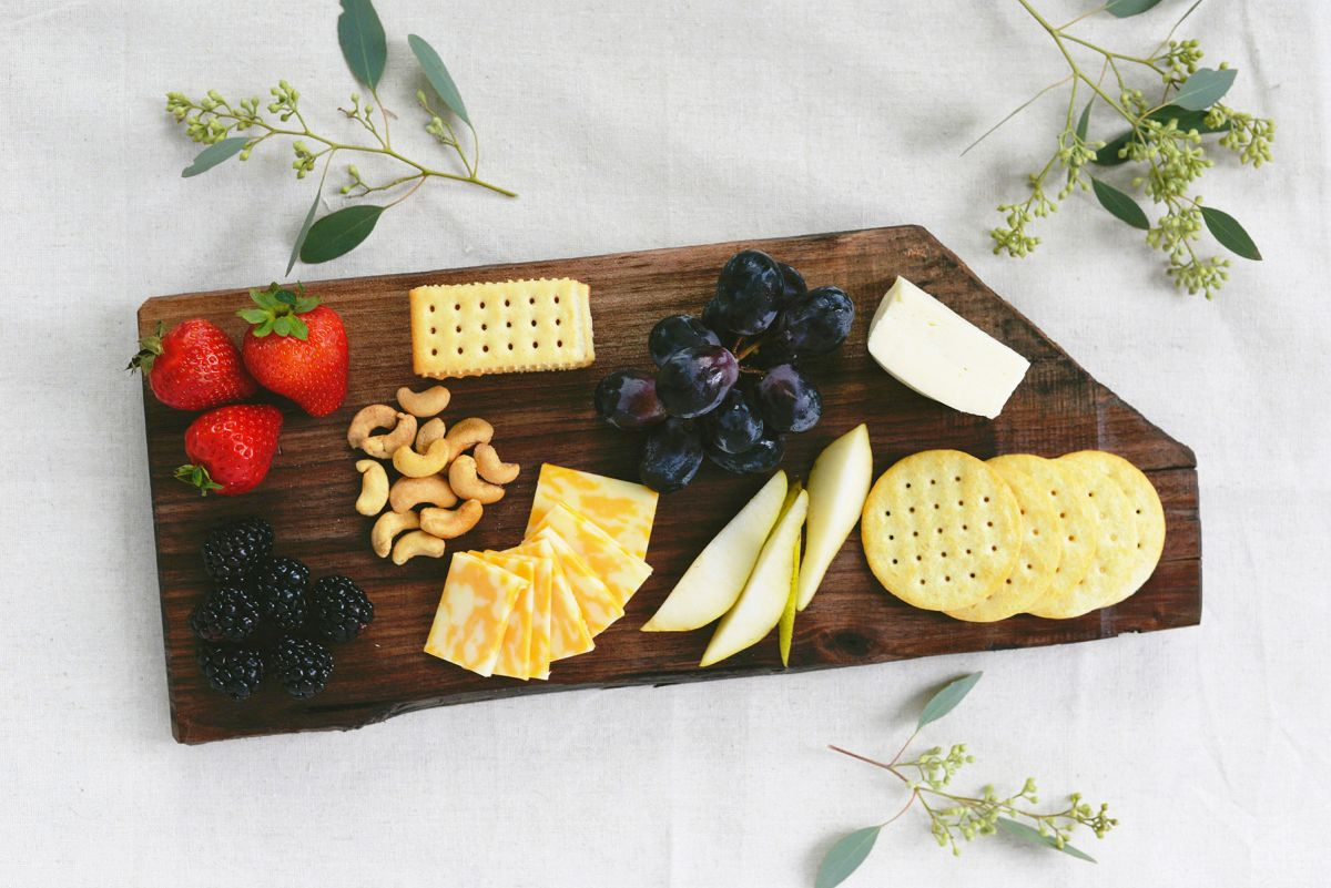Wood cheese board with an organic shape