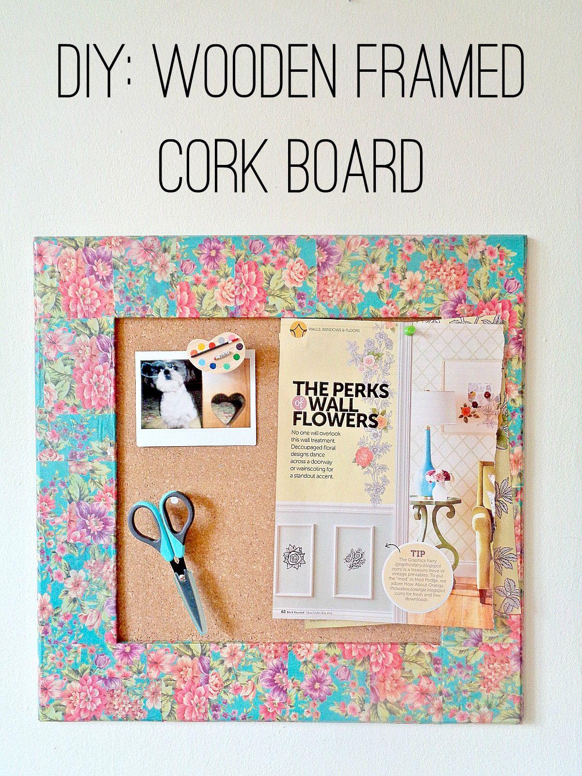 Cork board organizer decorated with tissue paper
