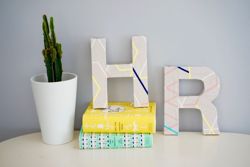 Fabric-covered letters that you can use as decorations