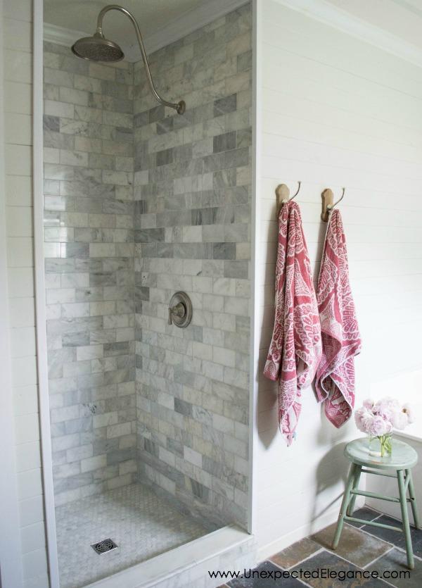 shower tile ideas Gray and White Shower Wall Tiles