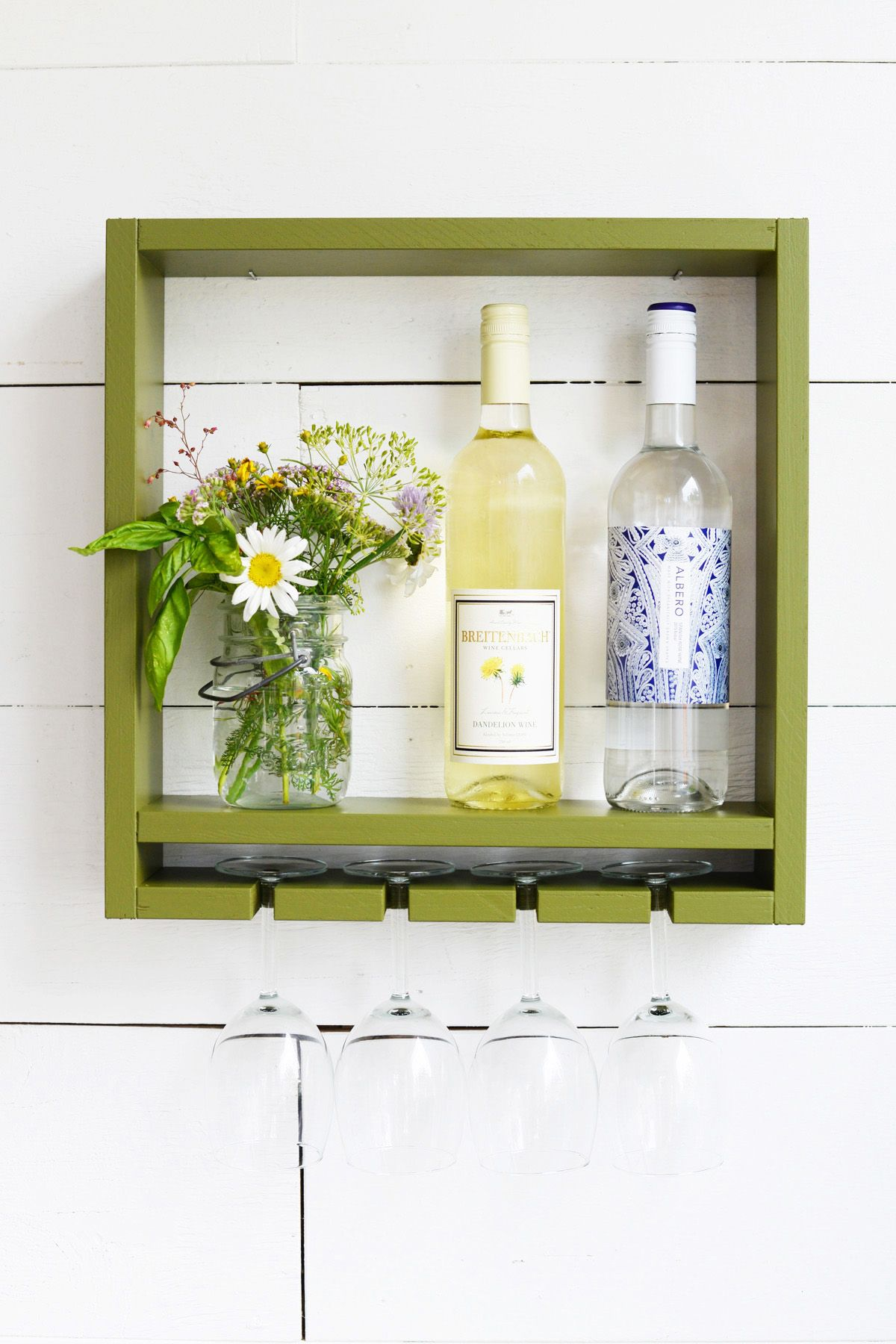 Small wine rack with a built-in glass rack