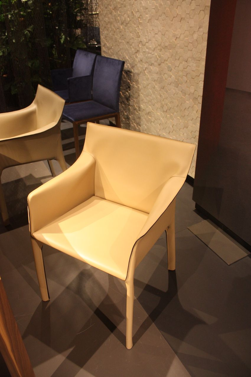 Knoll has these stylish leather dining chairs.