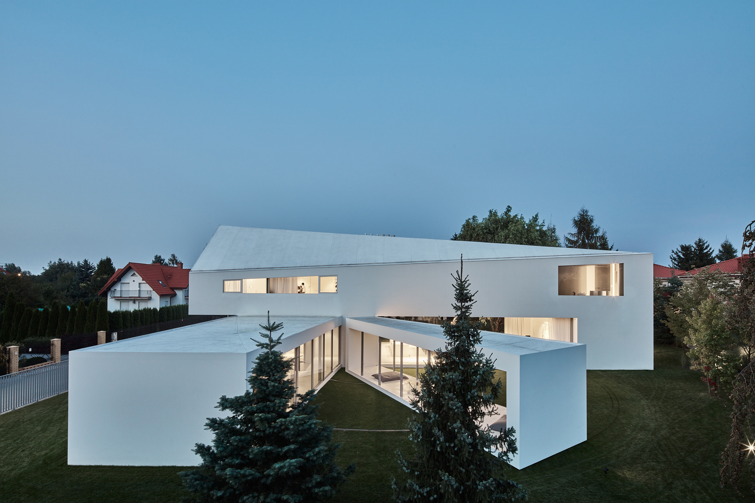 On the outside, the entire structure is white and has a very clean and minimalistic aesthetic