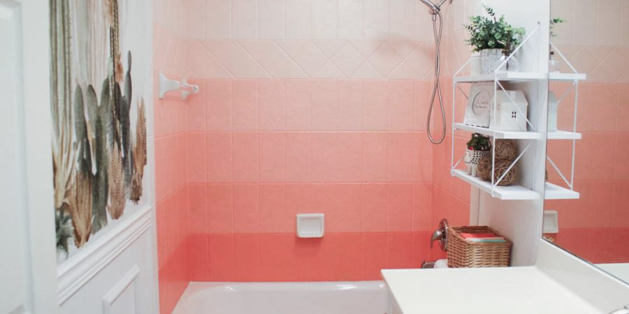 shower tile ideas Painted Ombre Shower Tiles